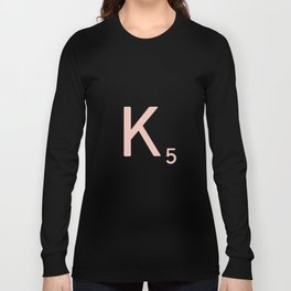 Pink Scrabble Letter K - Scrabble Tile Art and Accessories Long Sleeve T-shirt