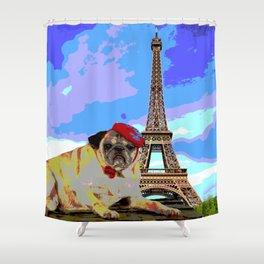 A Pug in Paris Shower Curtain