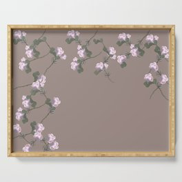 Roses Collage, brown,pink, floral, flowers, leaves, botanical, pattern, decor, art, society6 Serving Tray