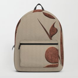 Cute Copper Flower Linen Canvas Backpack