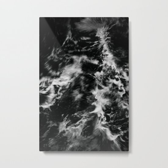Waves III - Black and White Metal Print