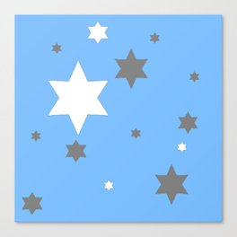 SIMPLY GREY & WHITE STARS ON BABY BLUE DESIGN Canvas Print