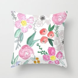 Floral Peony and Rose Watercolor Print  Throw Pillow