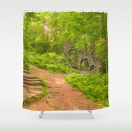 Sun Kissed Forest Castle Ruins Shower Curtain