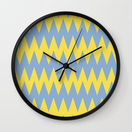 Zigzag Line Pattern Color of the Year 2021 Illuminating 13-0647 Yellow and Placid Blue 15-3920 Wall Clock