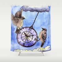 wall clock Shower Curtains featuring Clock by Anna Shell