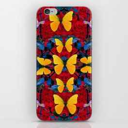 RED-WHITE ROSES & YELLOW BUTTERFLIES GARDEN iPhone Skin