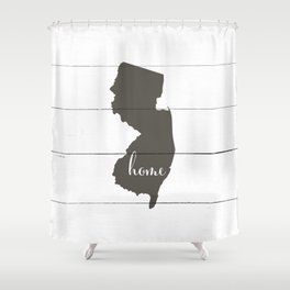 New Jersey is Home - Charcoal on White Wood Shower Curtain