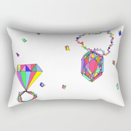 Shine Colorfully diamonds jewelry illustration fashion gem colorful accessory princess girly Rectangular Pillow