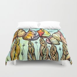 Autumn grove. Hand drawn watercolor and ink drawing Duvet Cover