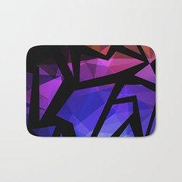 Abstract print of triangles polygon print. Bright dark design colors Bath Mat