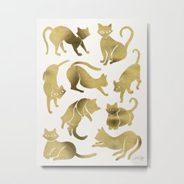 Cat Positions – Gold Palette Metal Print