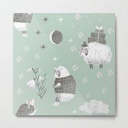 cute animals sheep good night Metal Print