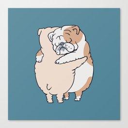 English Bulldog Hugs Canvas Print