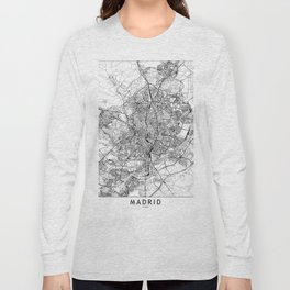 Madrid White Map Long Sleeve T-shirt