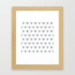 Bee pattern in grey and green Framed Art Print
