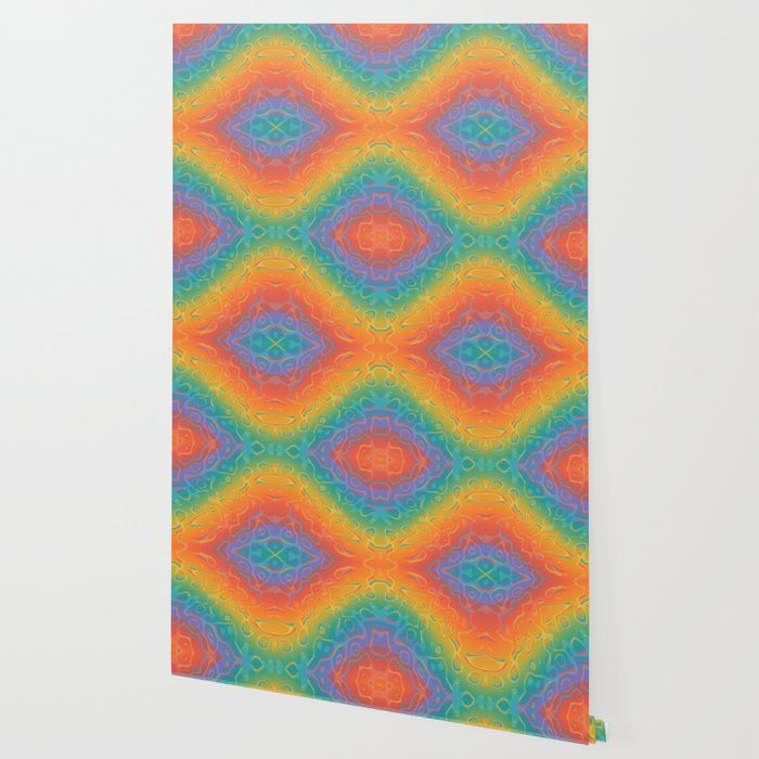Colorful Liquid Holographic Pattern Abstract Rainbow Waves Wallpaper