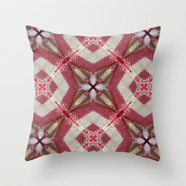 Holiday Red, Cream and Gold Burlap Plaid Pattern Throw Pillow