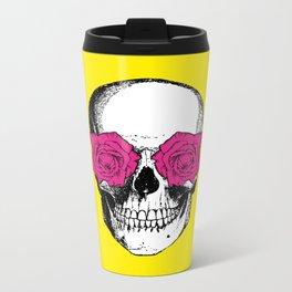Skull and Roses | Yellow and Pink Metal Travel Mug