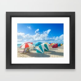 Miami beach cabanas and parasols Framed Art Print