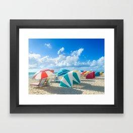 Miami beach cabanas and parasols Framed Art Print