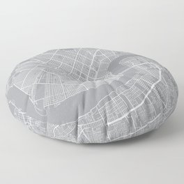 New Orleans Map, Louisiana USA - Pewter Floor Pillow