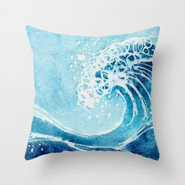 Watercolor Ocean Blue Wave Throw Pillow