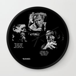 BUKOWSKI collage - The FREE SOUL quote Wall Clock