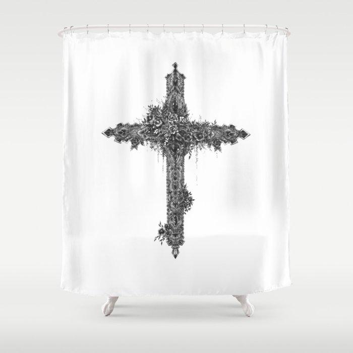Black Cross Shower Curtain