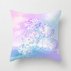Colorful Pastel Flowers Throw Pillow