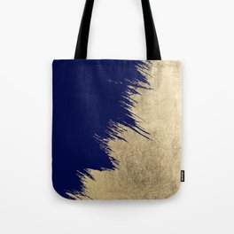 Navy blue abstract faux gold brushstrokes Tote Bag