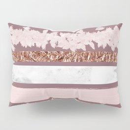Girly Pink Purple Glitter Rose Gold Brushstrokes Pillow Sham