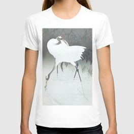 Two cranes fishing in the swamp - Vintage Japanese Woodblock Print Art T-shirt