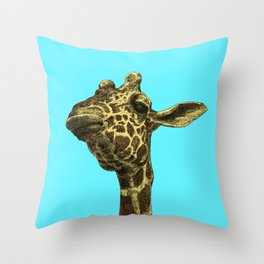 giraffe blue background 2 Throw Pillow