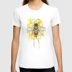 Hive Mentality White Womens Fitted Tee MEDIUM
