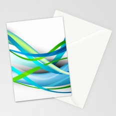 Modern Blue and Green Streamers Stationery Cards