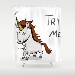Try Me Unicorn Shower Curtain