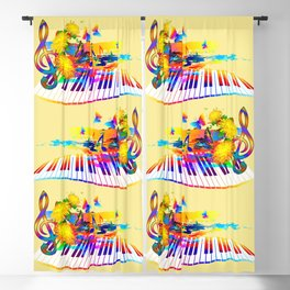Colorful music instruments design Blackout Curtain