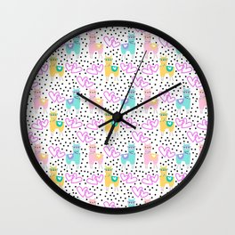 Funny cute teal pink romantic lama black polka dots Wall Clock