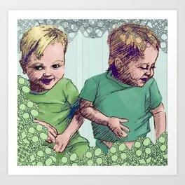 Babies Blue Art Print