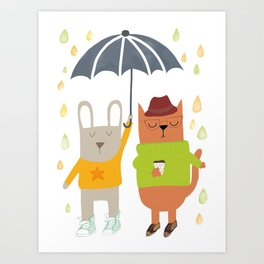 Hipster bunny and cat Art Print