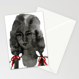 Ink Portrait - back white and red inky watercolour illustration painting Stationery Cards