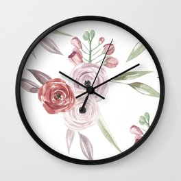 Vintage Floral Pattern Watercolor Wall Clock