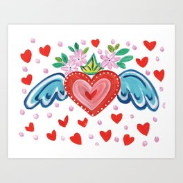 Valentine Heart with Wings Art Print