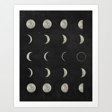 Moon Phases, Black White Decor, Bohemian, Magic, Lunar Cycle Art Print