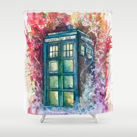 doctor Shower Curtains featuring Doctor Who Tardis by Jessi Adrignola