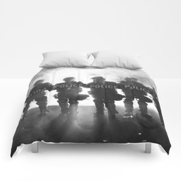 Riot Police Line - B&W  Comforters
