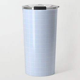 Powder Blue and White Grid Pattern Travel Mug