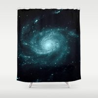galaxy Shower Curtains featuring Spiral gALAxy Teal by 2sweet4words Designs