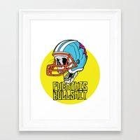 nfl Framed Art Prints featuring NFL Skull by Bowman Illustration